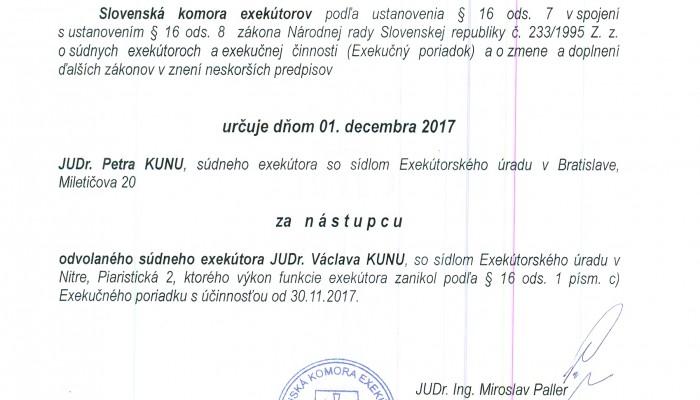 dekret o ustanoveni zastupcu